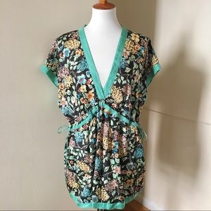 Johnny Was Silk Floral Tunic Top XL